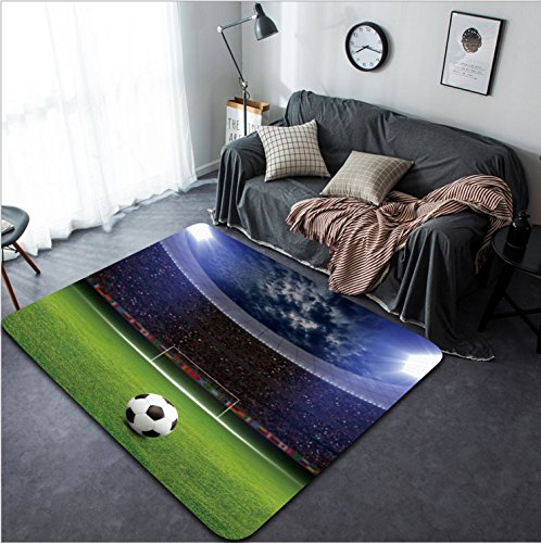Vanfan Design Home Decorative Soccer stadium soccer ball on green stadium arena in night illuminated bright spotlights soccer goal Modern Non-Slip Doormats Carpet for Living Dining Room Bedr by vanfan