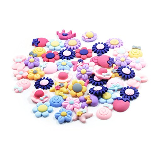 Homyl 50 Pieces Kawaii Resin Daisy Flower Star Candy Fruits Cabochons Flat Back Resin Confetti Embellishment Crafts for DIY Phone Decoration Card Making Girls Hair Accessories