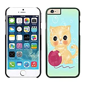 Slim Iphone 6 Case, Cute Shy Cat Phone Case Cover for Iphone 6 4.7 Inch Screen, Black Iphone 6 Hard Shell Cover