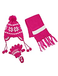 CTM® Kids' Snowflakes Peruvian Hat Scarf and Gloves on a String Set, Hot Pink