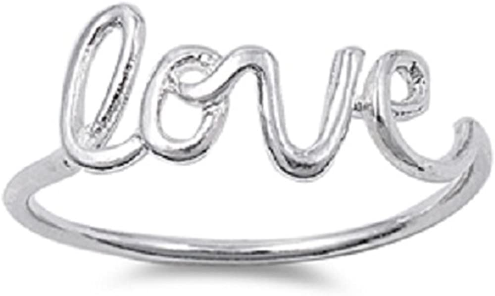 Princess Kylie Sterling Silver Love Word in Script Wire Ring Color Options, Sizes 3-15
