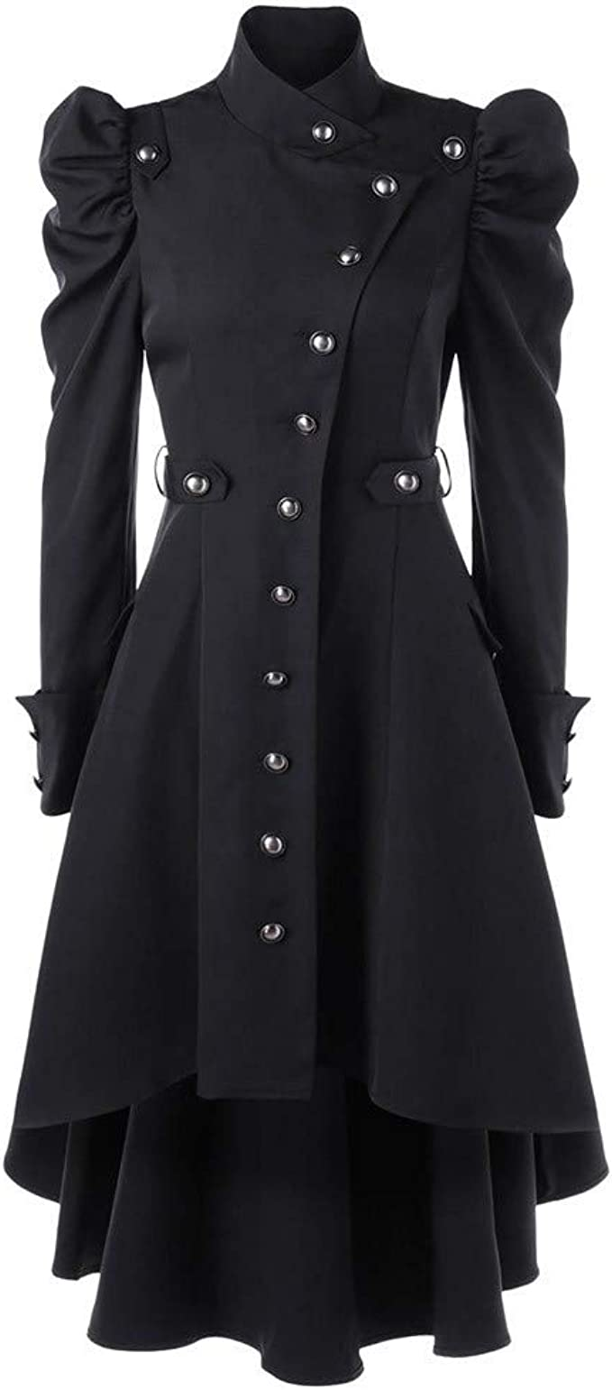 Lazzboy Womens Tailcoat Coat Steampunk Costume Lace Up Vintage Trench Victorian Jacket
