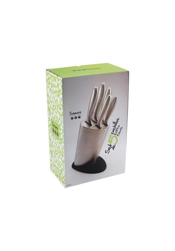 Samura - Set Cuchillos 5 pcs con Soporte INOX smk54: Amazon ...