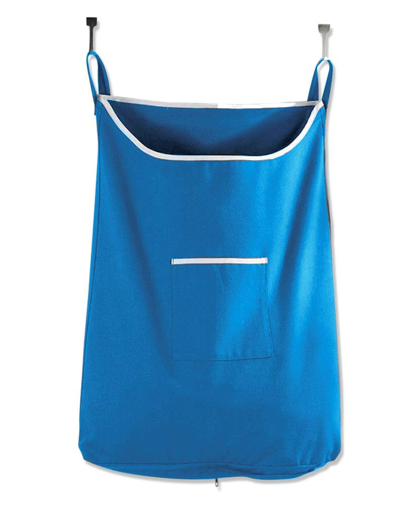 Space Saving Hanging Laundry Hamper Bag Sky Blue with Free Door Hooks - by The Fine Living Co USA