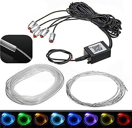 RGB 5 LED 6 m in fibra ottica cavo Bluetooth APP auto interno