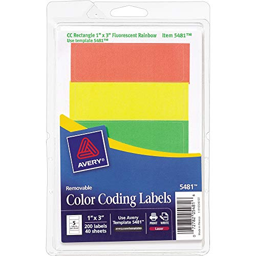 - Avery Consumer Products Products - Removable Labels, Rectangle, 1amp;quot;x3amp;quot;, Fluorescent Asst. - Sold as 1 PK - Color-coded labels with removable adhesive are ideal for document and inventory control, routing, organizing, highlighting price marking, scheduling and more. Come on a 4amp;quot; x 6amp;quot; sheet. Write on or print using your laser printer. Avery offers many easy-to-use Avery Templates for Microsoft Word and other popular software programs.