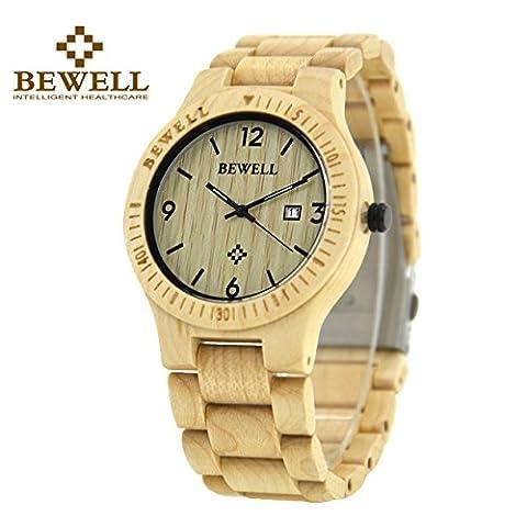 Bewell Wood Men Watch Quartz Movement Day Display Lightweight Vintage Wristwatch (Maple Wood) (30mm Watch Face Protector)