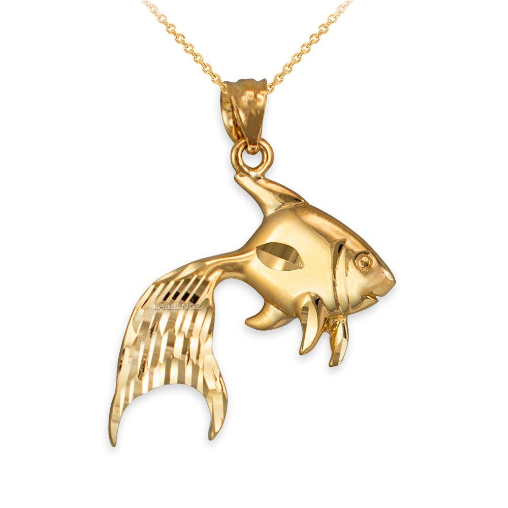 LA BLINGZ 14K Polished Yellow Gold Goldfish DC Necklace