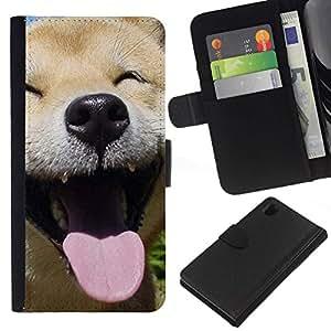 All Phone Most Case / Oferta Especial Cáscara Funda de cuero Monedero Cubierta de proteccion Caso / Wallet Case for Sony Xperia Z1 L39 // Happy Shiba Inu Dog Canine