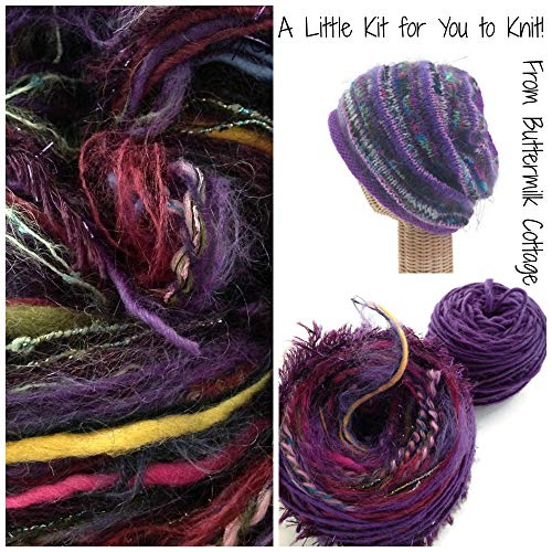 Boutique Yarn Slouchy Hat Knitting Kit Purple