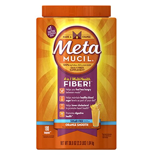 Metamucil Daily Fiber Supplement, Orange Smooth Sugar Free Psyllium Husk Fiber Powder, 180 Doses