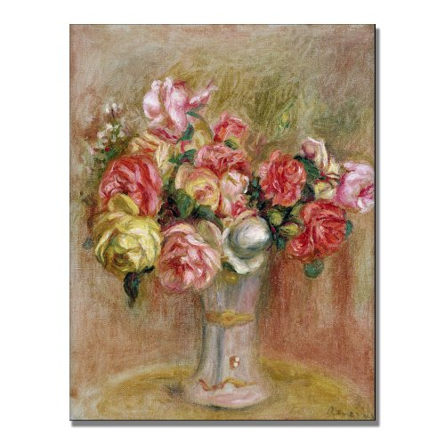 Roses in a Sevres Vase by Pierre Renoir, 24x32-Inch Canvas Wall Art