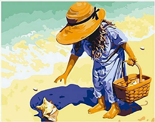 Girl Picking Up Seashell On the Beach-DIY Painting by number kit Pictures Painting On Canvas Home Decoration 16x20 inch Frameless Cockle picking
