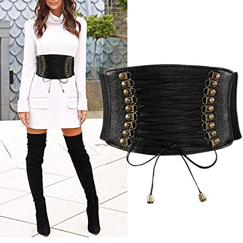 Womens PU Leather Belt High Waist Cincher Belt Corsets for Waist Training Wide -