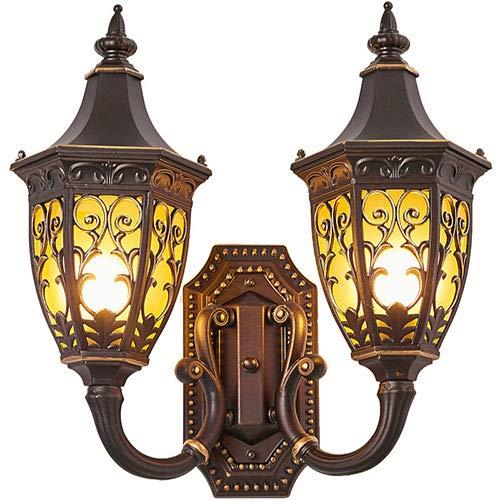 Doppia Lampada da Parete Esterna Impermeabile in Stile Europeo Scala Balcone Lampada da Parete Americana Retro Porta Esterna Luce da Giardino Luce