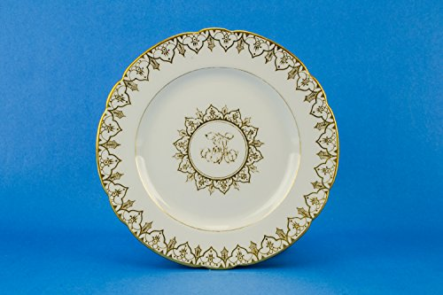 6 Antique Large Scrolls PLATES Porcelain Victorian Gift Spectacular Gold Dinner Fischer Mieg German Late 19th Century LS