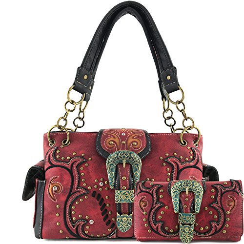 Justin West Patina Girl Western Bronze Floral Buckle Handbag Purse Tote and Strap Wallet (Red Handbag and Wallet)