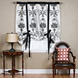 Best Home Fashion Black Velvet Damask Tieup 70