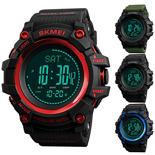 Men Digital Sport Military Watch with Altimeter Barometer Thermometer Compass Pedometer (Color : Red)