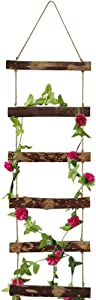 "Kelendle Garden Trellis for Climbing Plants Flowers Wooden Garden Trellis Ladder Hanging Rope Potted Plant Support for Climbing Vines Rose Tomato Pea Ivy Cucumbers Indoor Outdoor 47.2"" H"