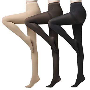 aaa1a03e7a95d Women Opaque Tights Control Top Footed Reinforced Toe 120 Denier Stockings  Legging Pantyhose 3 Pack Black