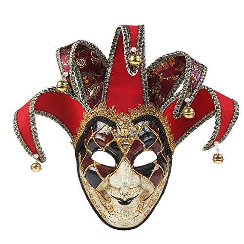 Mask Masquerade Vintage Retro Full Face Jester Jolly Venetian Crack Party Mardi Gras Costume Halloween (red H) -