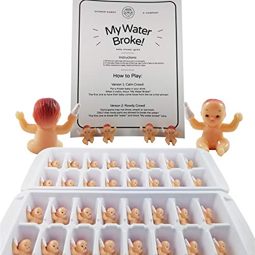 My Water Broke Baby Shower Game with Tiny Plastic Babies for Ice Cubes, 32 People (Caucasion)