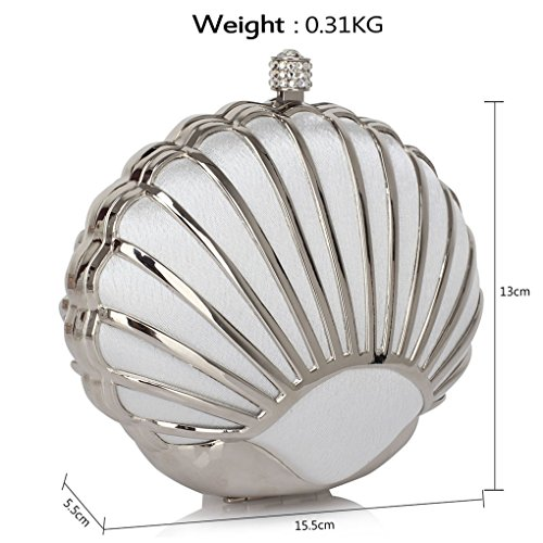Style Wedding Designer Clasp Bags Bag encrusted Clutch Fashion Shell LeahWard® Clutch Crystal Bag Ladies Small With Women Size For Bridal Ivory Shell 71ww4xY