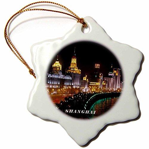 3dRose orn_80851_1 Nite View of Shanghai China-Snowflake Ornament, Porcelain, 3-Inch -