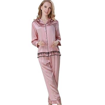 Sue Mujer 100% Seda Pura Pijama Ropa de Dormir Ropa de Dormir Honda Respirable Primavera Verano Ropa Interior Bata de baño Casa, M: Amazon.es: Hogar