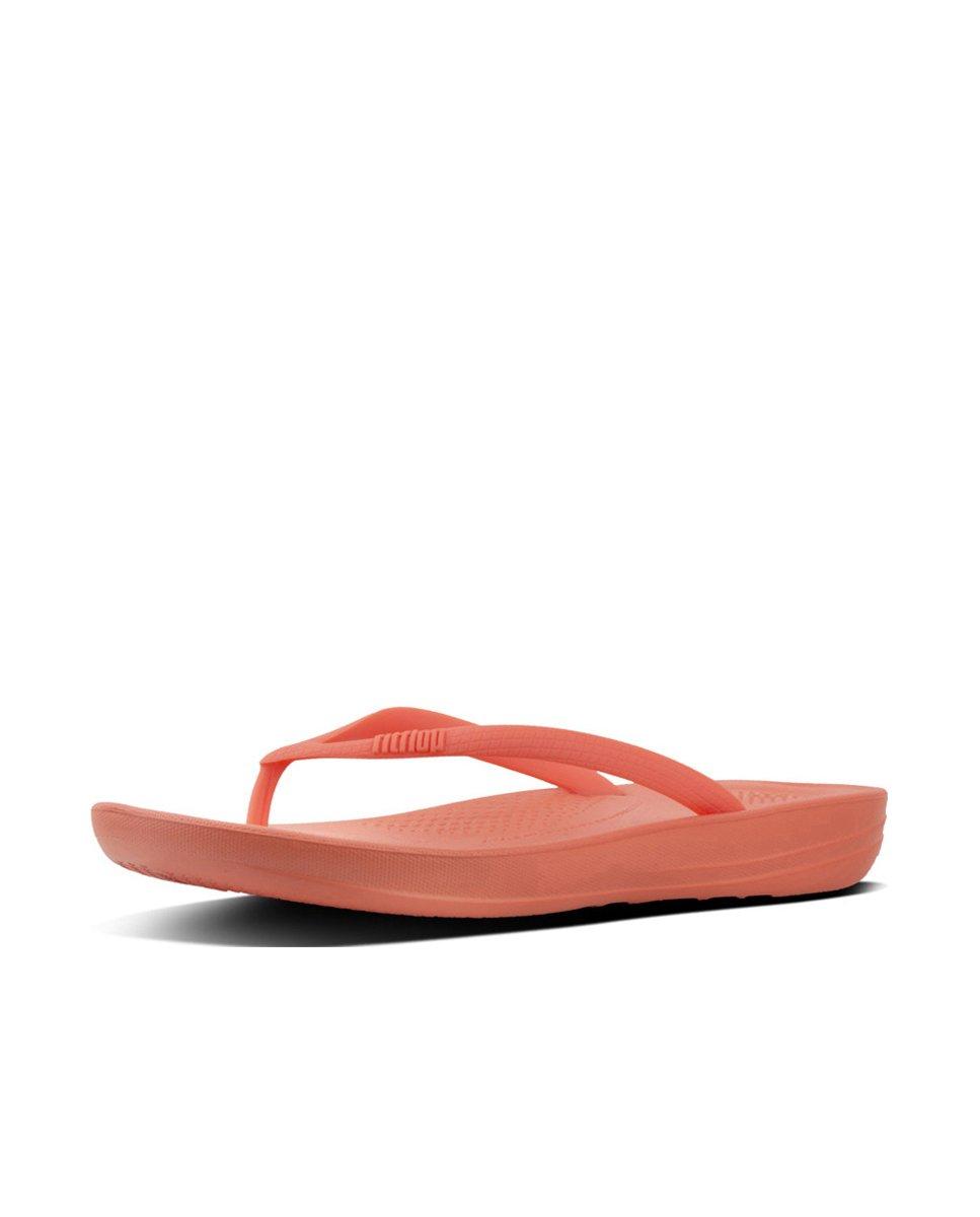 FitFlop Damen Iqushion Ergonomic Flip-Flops Peeptoe Sandalen, Gold  8 UK|Sunshine Coral
