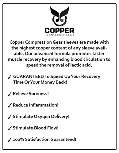 Copper Compression Gear PREMIUM Fit Recovery Ankle Sleeve - 100% GUARANTEED - #1 Ankle Brace/Support Sock/Wrap / Stabilizer For Men And Women by Copper Compression Gear (Image #3)