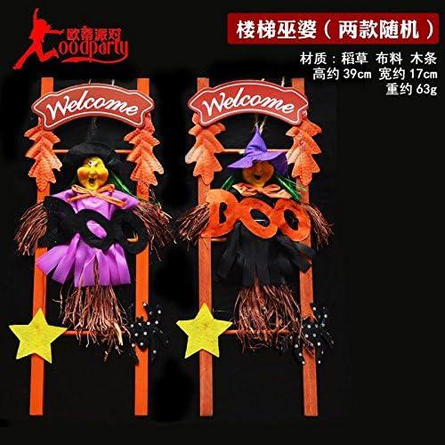 Halloween decoraciones SunBai emisores de luz de calabaza espuma grabado gran calabaza fantasma bruja esqueleto adornos colgantes, la bruja de escalera: Amazon.es: Hogar