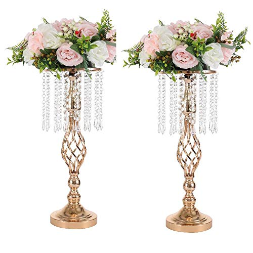 LANLONG 2PCS Acrylic Imitation Crystal Candle Holder Stand Gold/Silver Flower Vase Wedding Centerpiece Lead Road Candlestick for Wedding Event Decoration (gold-52cm, 20.4