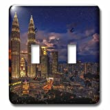 3dRose Cities Of The World - Petronas Twin Towers In Kuala Lumpur, Malaysia - Light Switch Covers - double toggle switch (lsp_268654_2)