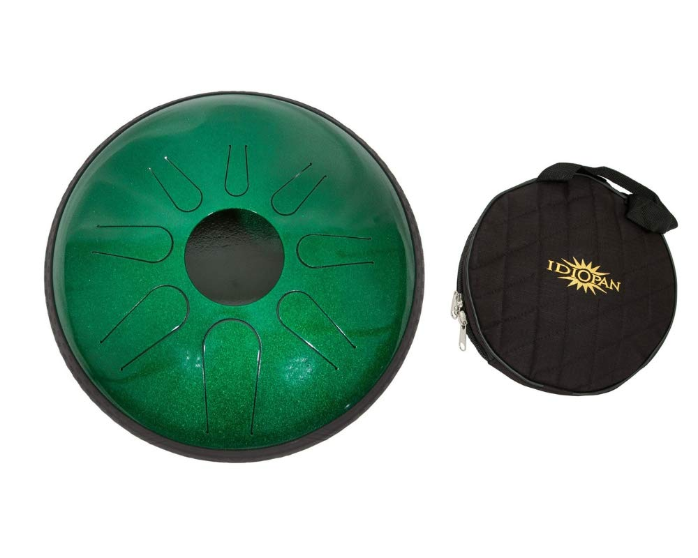 Idiopan Domina Steel Drum Package Includes: 12'' Tunable Steel Tongue Drum - Emerald Green + Idiopan 12'' Standard Gig Bag For Tongue Drum