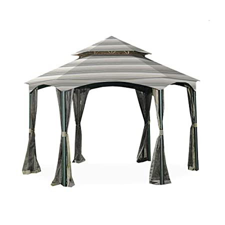 Garden Winds Replacement Canopy for The Southbay Hexagon Gazebo – Standard 350 – Stripe Stone