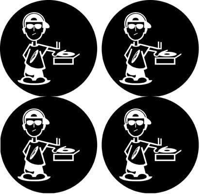 Amazon Com Dj Rap Disc Jockey Rubber Round Coaster Set 4 Pack Great Gift Idea Coasters