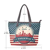 Vintage American Flag Texas State Dallas Skyline Women's Fashion Large Tote Ladies Handbag Shoulder Bag