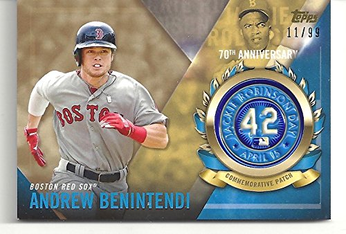 "Andrew Benintendi Serial Numbered #11/99 ""Jackie Robinson Logo Patch Card - 70th Anniversary Commemorative Patch Card"" - 2017 Topps Baseball Card #JRPC-ABE (Boston Red Sox) Free Shipping"