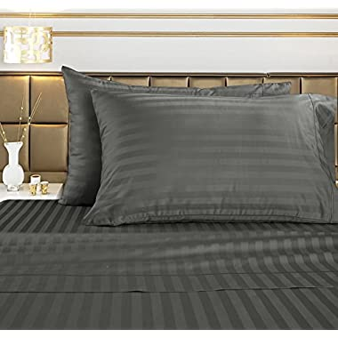 #1 Best Seller Supima Cotton Sheets on Amazon! Blockbuster Sale: Todays Special - Highest Quality Luxury Super Soft 100% Supima Cotton Damask Stripe 500 Thread Count Sheet Set (King, Charcoal)