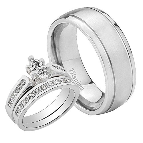 Satin Band Sterling Silver Ring (Women & Men Grooved Satin Titanium 1.1CT Sterling Silver Cubic Zirconia 3 pcs Wedding Ring Set Sz7,10)
