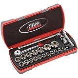 """SAM Outillage 75-SH23Z Coffret de douilles/accessoires 1/2"""" 23 Outils de 8 à 32 mm"""