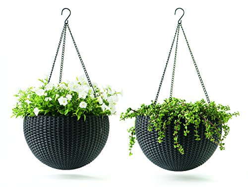 Keter Resin Rattan Set of 2 Round Hanging Planter Baskets for Indoor and Outdoor Plants-Perfect for Porches and Patio Decor, Graphite