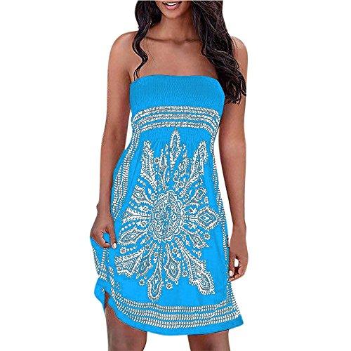 - Wobuoke Women Summer Autumn Halter Neck Print Long Sleeve Boho Casual Mini Beachwear Slim Mini Dress (Sky Blue, L)
