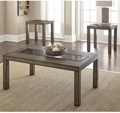 Furniture of America Karlton Industrial 3-Piece Accent Tables Set, Antique Oak
