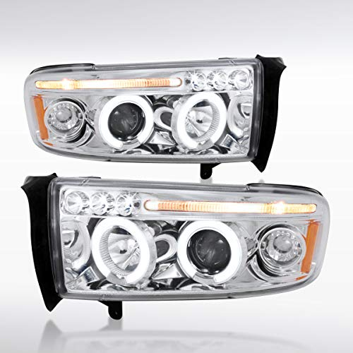 Autozensation For Dodge Ram Truck Pickup Chrome LED Dual Halo Projector Headlights Pair