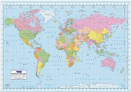 Poster GIGANTE de PAPEL. Mapa Político del Mundo en INGLES. Medidas aprox. 140 x 100 cm.: Amazon.es: Hogar