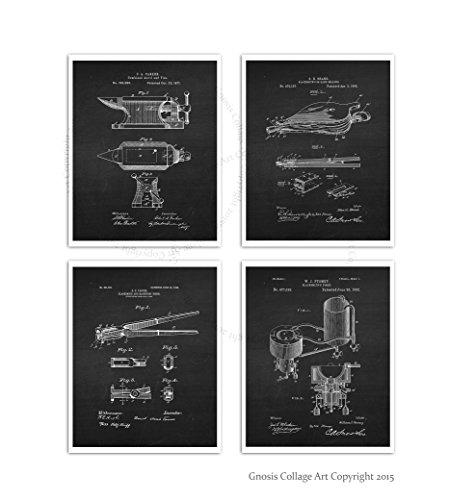 Tools Poster (Blacksmith Tools Posters Set of 4 Unframed Blacksmithing Decor Art Prints Gift for Blacksmith)