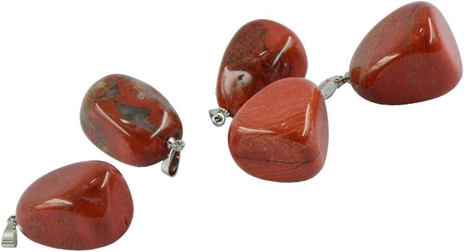 Inzopo - Colgante de cuarzo con forma irregular (5 unidades), diseño de jaspe rojo